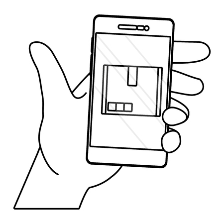 hands using cellphone with box black and white vector illustration graphic design