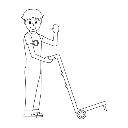 delivery guy with pushcart black and white vector illustration graphic design Illustration