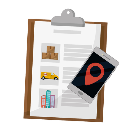 checklist and cellphone with location symbol vector illustration graphic design