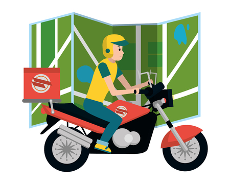 delivery guy in motorcycle with map vector illustration graphic design