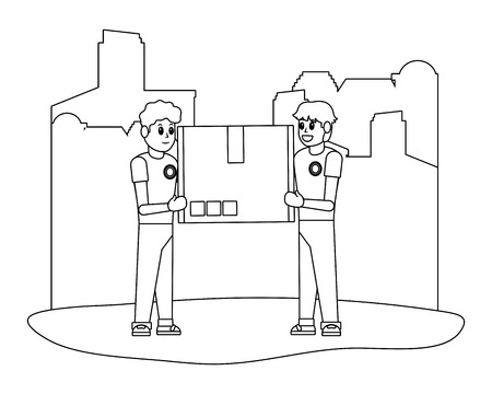 delivery guys with box carrying black and white vector illustration graphic design