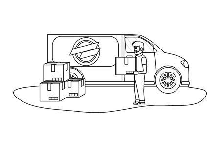 delivery guy with boxes and van black and white vector illustration graphic design