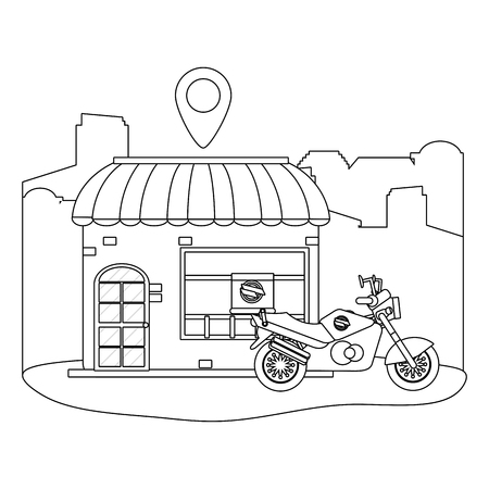 store with delivery motorcycle and location symbol black and white vector illustration graphic design