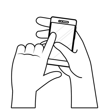 hands using cellphone black and white vector illustration graphic design