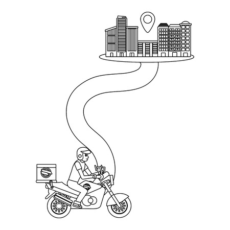 delivery motorcycle on a way to city with location symbol black and white vector illustration graphic design