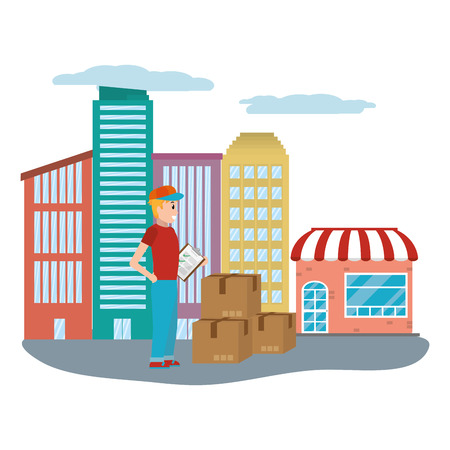 delivery guy with box and checklist cityscape vector illustration graphic design