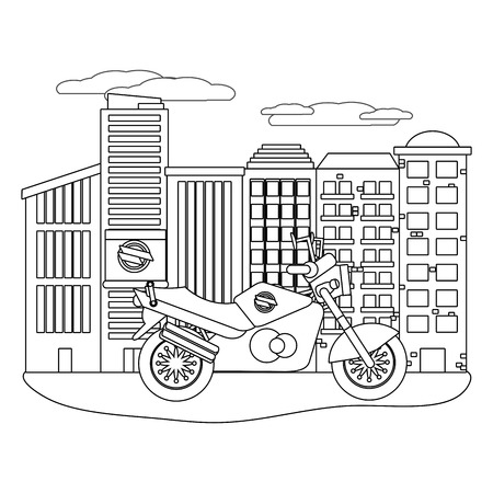 delivery motocycle in cityscape black and white vector illustration graphic design Illustration