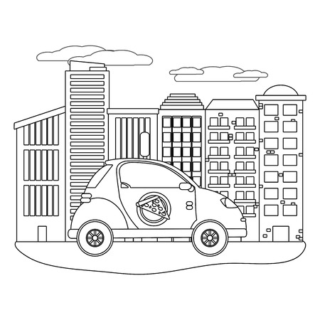 delivery car in cityscape black and white vector illustration graphic design Illustration