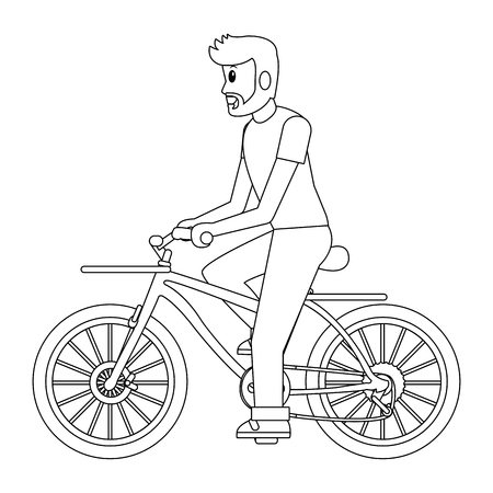 delivery guy with bicycle black and white vector illustration graphic design