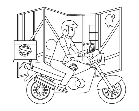 delivery guy in motorcycle with map black and white vector illustration graphic design Illustration