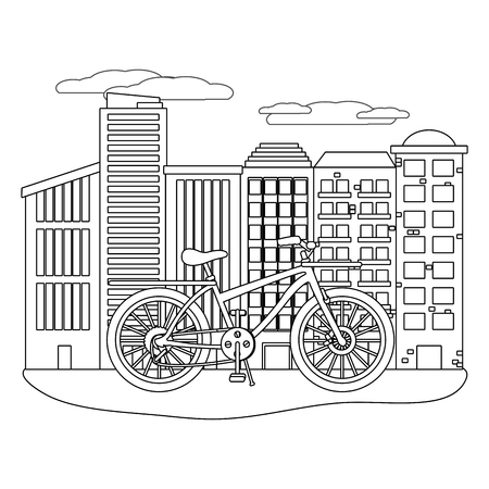 delivery bicycle in cityscape black and white vector illustration graphic design