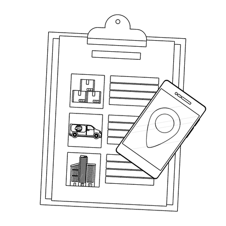checklist and cellphone with location symbol black and white vector illustration graphic design