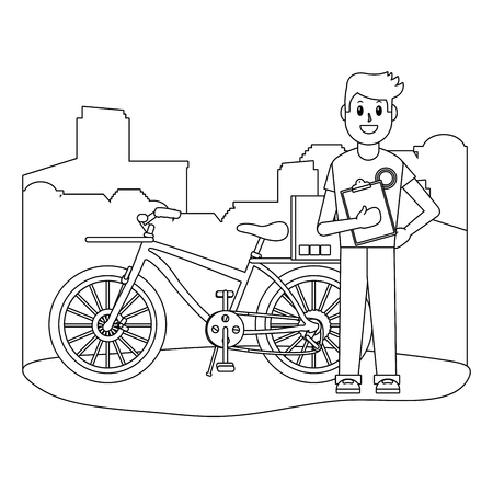 delivery guy with box and bicycle checklist city silhouette black and white vector illustration graphic design