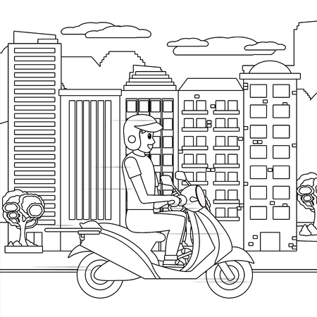 delivery guy in scooter cityscape black and white vector illustration graphic design Illustration