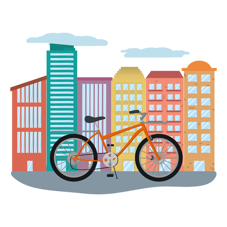delivery bicycle in cityscape vector illustration graphic design
