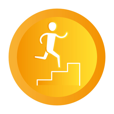 man pictogram climbing stairs button cartoon vector illustration graphic design Çizim