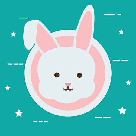 cute rabbit head character vector illustration design Reklamní fotografie - 124655232