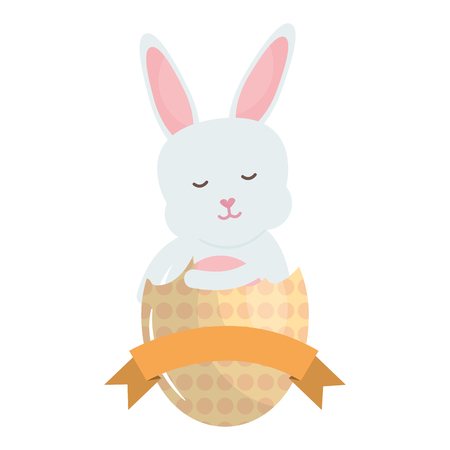 cute rabbit with broken easter egg painted vector illustration design Reklamní fotografie - 124655233