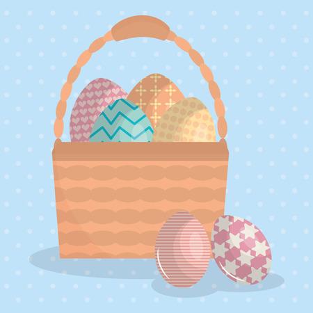 eggs painted in basket happy easter vector illustration design Standard-Bild - 124655235