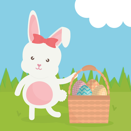 cute rabbit with easter eggs painted in basket vector illustration design