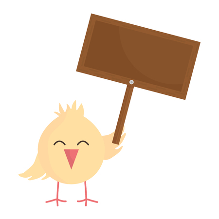 little chick with wooden label easter character vector illustration design Ilustrace