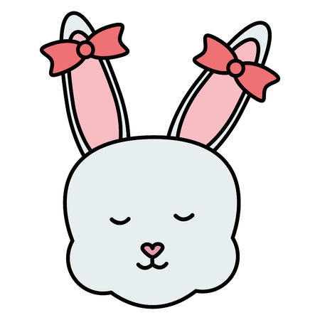 cute rabbit female head character vector illustration design Ilustrace