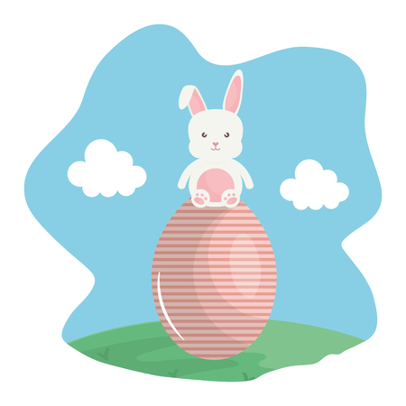 cute rabbit with easter egg painted in the landscape vector illustration design