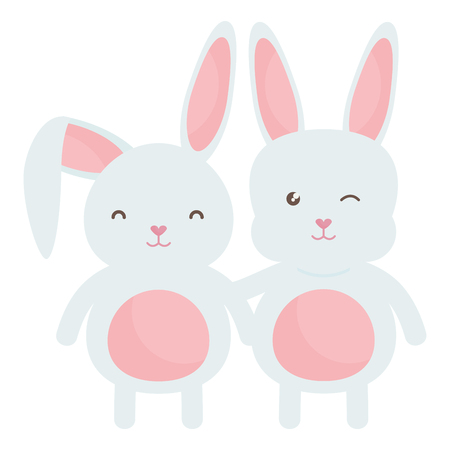 cute rabbits characters icon vector illustration design