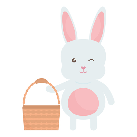 cute rabbit with basket empty character vector illustration design