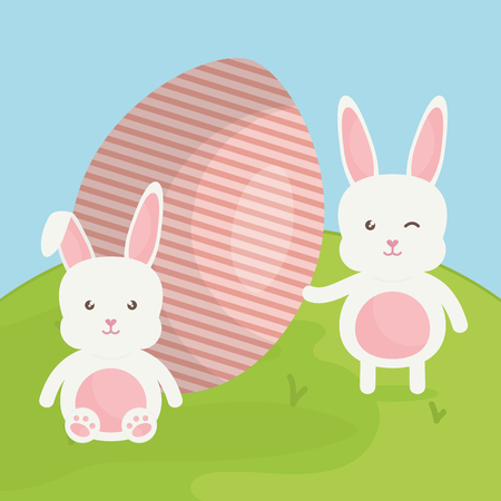 cute rabbits with easter eggs painted in the field vector illustration design