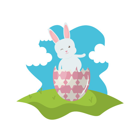 cute rabbit with broken easter egg painted in the field vector illustration design Reklamní fotografie - 124655269