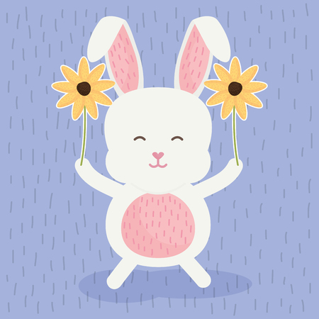 cute rabbit with flowers vector illustration design
