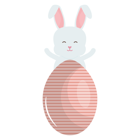 cute rabbit with easter egg painted vector illustration design Ilustrace