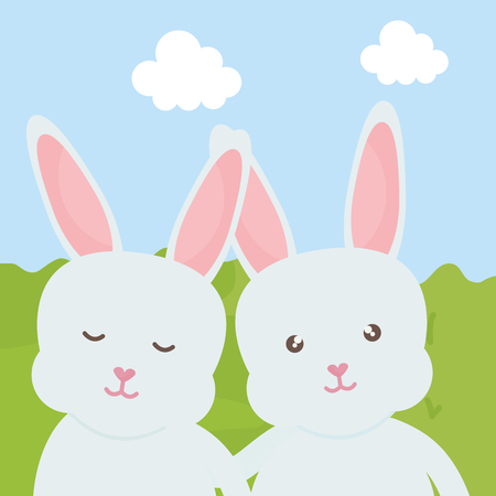 cute rabbits in the landscape characters vector illustration design Reklamní fotografie - 124655275