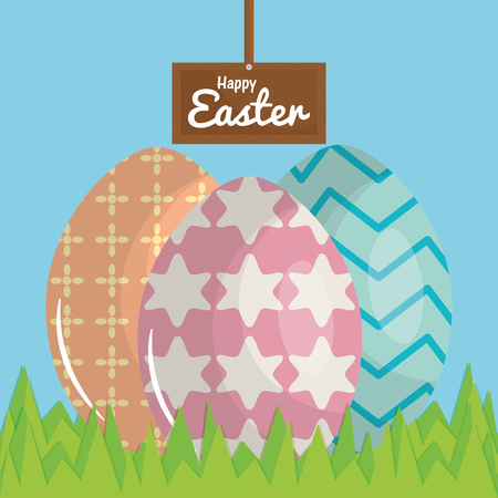 eggs painted in the field happy easter vector illustration design Standard-Bild - 124655281