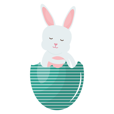 cute rabbit with broken easter egg painted vector illustration design