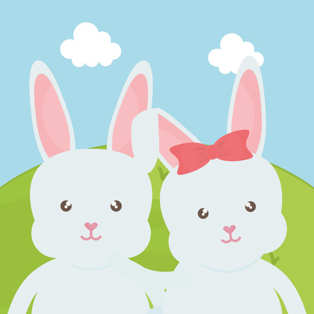 cute rabbits in the landscape characters vector illustration design Reklamní fotografie - 124655284