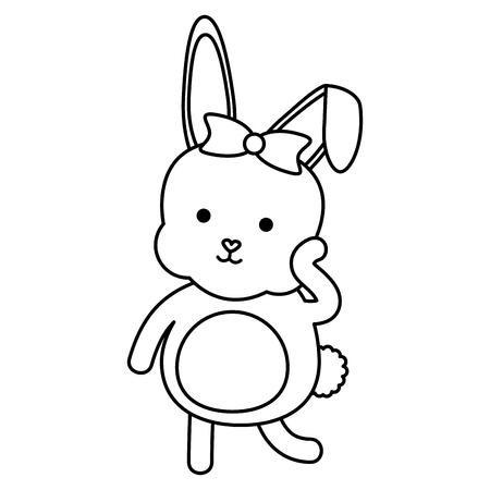 cute rabbit female character vector illustration design
