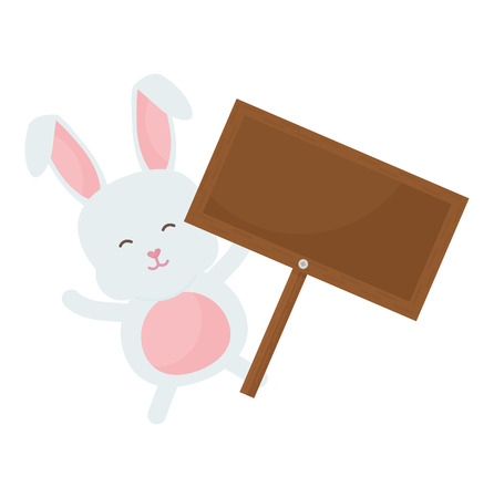 cute rabbit with wooden label character vector illustration design