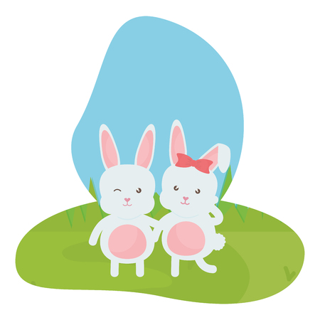 cute rabbits in the landscape characters vector illustration design