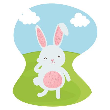 cute rabbit in the landscape character vector illustration design Ilustração