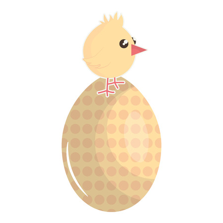 little chick with egg painted easter character vector illustration design Иллюстрация