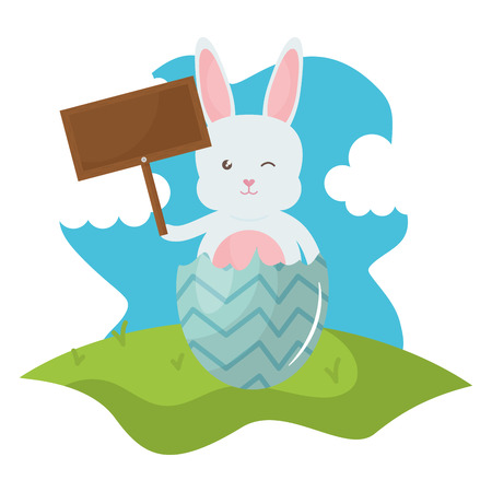 cute rabbit with broken easter egg painted in the field vector illustration design