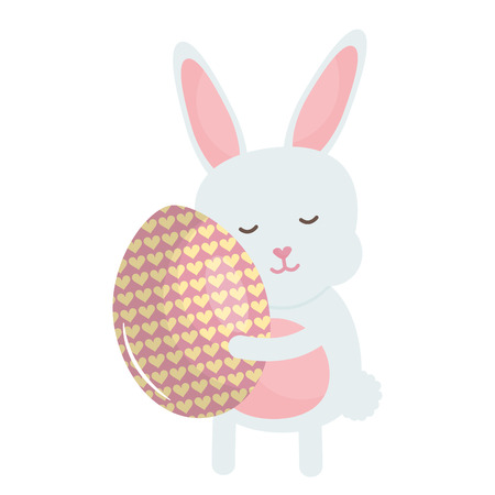 cute rabbit with easter egg painted vector illustration design Illustration