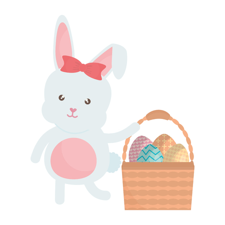 cute rabbit with easter eggs painted in basket Illustration