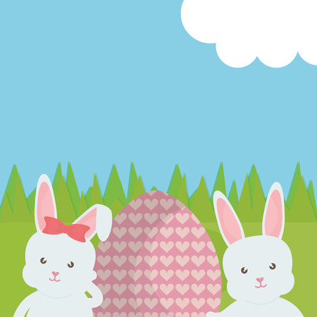 cute rabbits with easter egg painted in the field vector illustration design