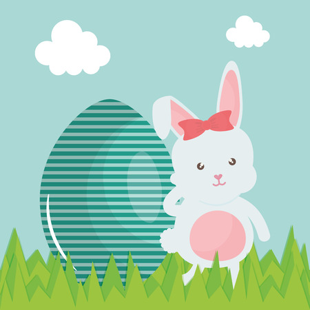 cute rabbit with easter egg painted in the camp vector illustration design Illustration