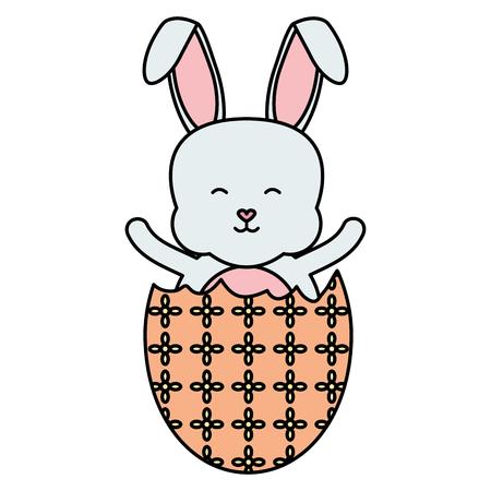 cute rabbit with broken easter egg painted vector illustration design