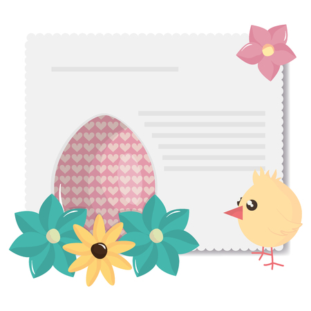 little chick with egg painted and flowers vector illustration design