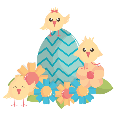 little chicks with egg painted easter characters vector illustration design